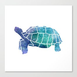 Sulcata Tortoise Silhouette (sparkles) Canvas Print