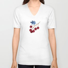 Red berries and blue watercolor leaves pattern Unisex V-Neck