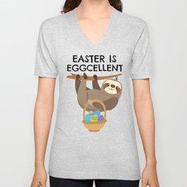 Sloth Easter product Easter is Eggcellent Pun Unisex V-Neck