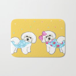 Bichon Frise Holidays yellow cute dogs, Christmas gift, holiday gift, birthday gift, dog, Bijon Bath Mat