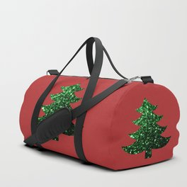 Sparkly Christmas tree green sparkles on red Duffle Bag