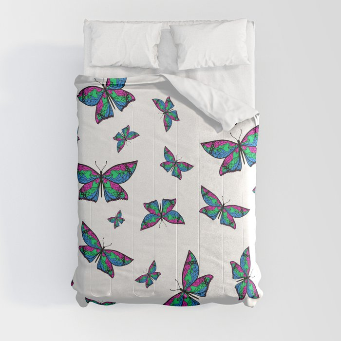 Fly With Pride: Polysexual Flag Butterfly Comforters