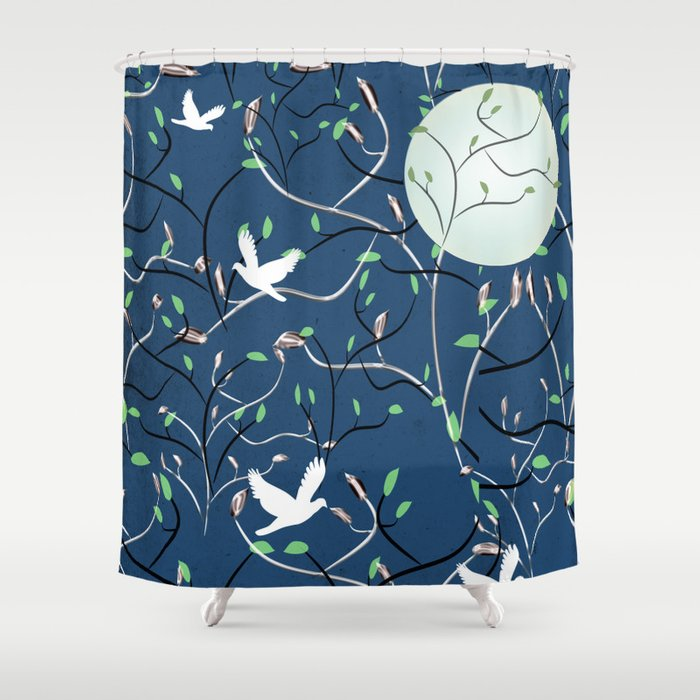 Art Nouveau Moon With Doves Blue And Silver Shower Curtain
