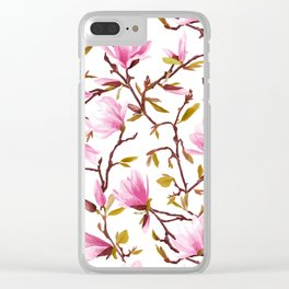 Pink Magnolia Spring Blossom Clear iPhone Case