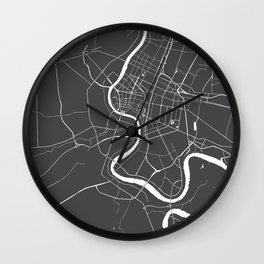 Bangkok Thailand Minimal Street Map - Gray and White II Wall Clock