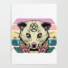 Live Ugly Fake Your Death -Satanic Possum T-Shirt Poster