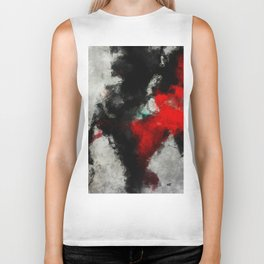 Black and Red Abstract Art Biker Tank
