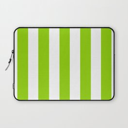 Sheen green - solid color - white vertical lines pattern Laptop Sleeve