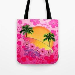 Surfer Girl Pink Tropical Flowers Tote Bag