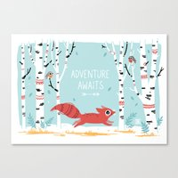 adventure Canvas Prints featuring Adventure Awaits by Freeminds