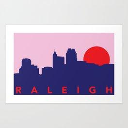 Raleigh Night Skyline Art Print