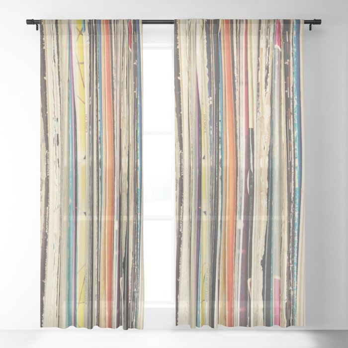 Record Collection Sheer Curtain