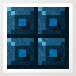 Blue Green Pixel Blocks Art Print