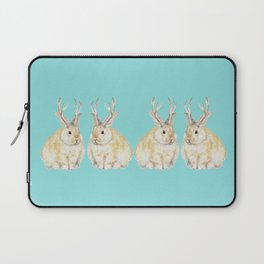 Watercolor Grumpy Jackalope Antler Bunny Laptop Sleeve