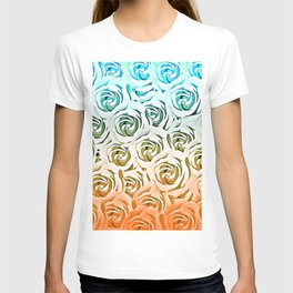 blooming rose pattern texture abstract background in blue and pink T-shirt