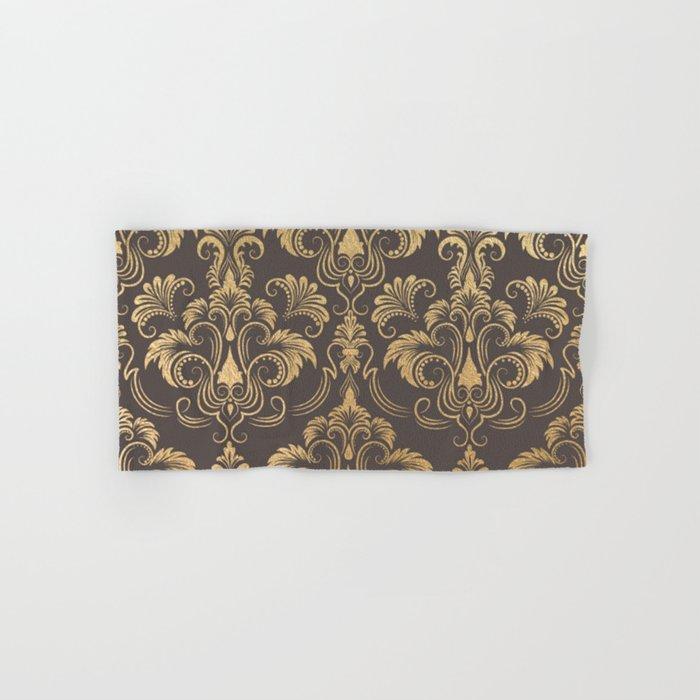 Gold foil swirls damask #10 Hand & Bath Towel