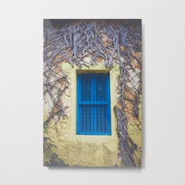 blue shutter window in yellow building with creeping vines Metal Print