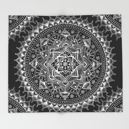 White Flower Mandala on Black Throw Blanket