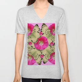 PINK ON PINK HOLLYHOCK FLORAL & YELLOW-BLACK BUTTERFLY Unisex V-Neck