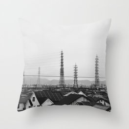 Electricity Pylons. Japan. Black and White. Urban Travel Print - Photography Wall Art. Throw Pillow