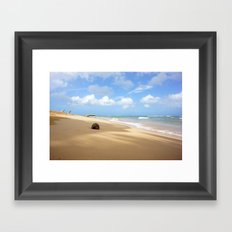 Loquillo Beach Photography - Turquoise Ocean, Blue Sky, Warm Golden Sand Framed Art Print