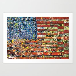 JASPER JONES POLLOCK FLAG Art Print