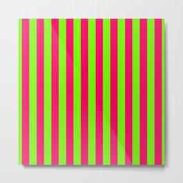 Super Bright Neon Pink and Green Vertical Beach Hut Stripes Metal Print