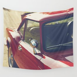 Sportscar, supercar, windscreen details, red triumph spitfire, english car Wall Tapestry