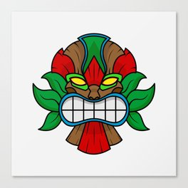 Tiki Mask - White Background Canvas Print