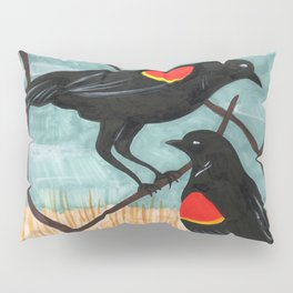 Red Winged Blackbirds in Marsh Pillow Sham
