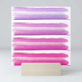 Simply hand painted pink and magenta stripes on white background  2 - Mix and Match Mini Art Print