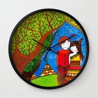 pocahontas Wall Clocks featuring Pocahontas by Sandra Nascimento