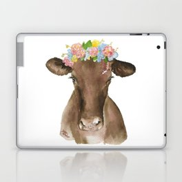 Brown Cow with Floral Wreath Laptop & iPad Skin