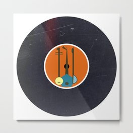 Vinyl Record Art & Design | Mid-Century Modern Musical Instruments 1.1 Orange Metal Print