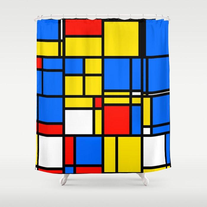 Mondrian Style Shower Curtain