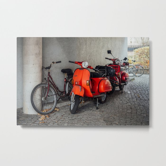 Red scooters in Berlin Metal Print