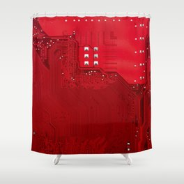 red electronic circuit board Shower Curtain