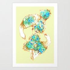 Oiseaux Bleu - digital version Art Print
