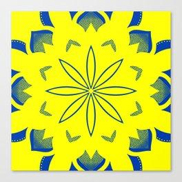 Maize & Blue floral Mandala Canvas Print
