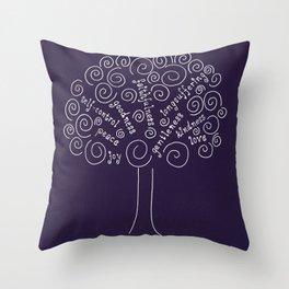 Purple Fruits of the Spirit Tree Throw Pillow