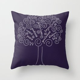 Purple Fruits of the Spirit Tree Throw Pillow