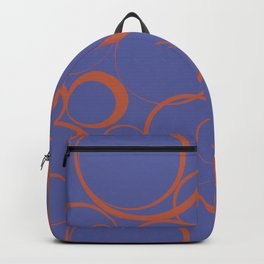 Dark Orange and Blue Funky Ring Pattern V43 Accent Shades To Pantone 2021 Colors of the Year Backpack