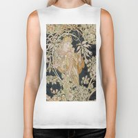 mucha Biker Tanks featuring 1898 - 1900 Femme a Marguerite by Alphonse Mucha by BookCollecting101