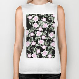 Hand painted blush pink green black watercolor floral Biker Tank
