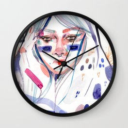 Blue by Kasia Riznar Hand painted beautiful watercolor illustration Wall Clock