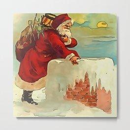 Santa Stepping Into A Rooftop Chimney Metal Print