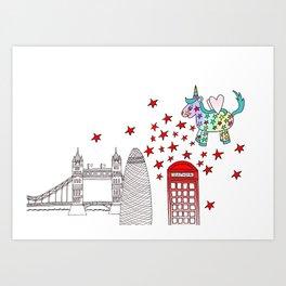 London Rainbow the Unicorn Art Print