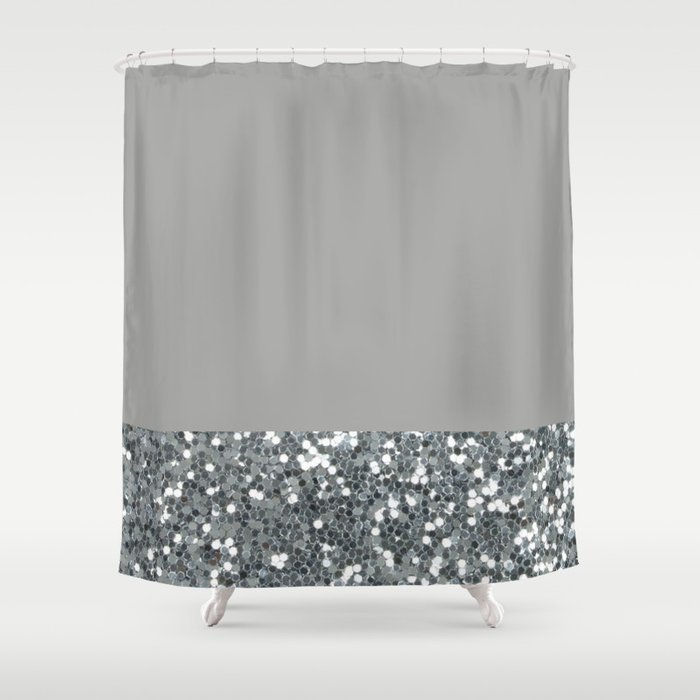 Glitter Colorblock Shower Curtain By Saadana