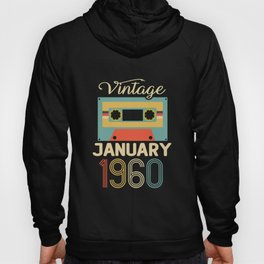Vintage January 1960 60th Birthday 60 Year Gift Hoody