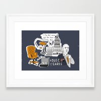 house of cards Framed Art Prints featuring House of cards by zldrawings